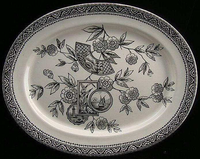 Wonderful Aesthetic Design Black Platter ~ BOSTON 1880