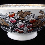 Antique Scottish Waste Bowl ~ HAWTHORN BLOSSOMS 1870