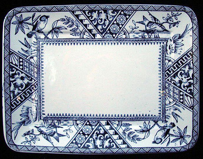 Blue Transferware Serving Tray Platter ~ CONGO 1883