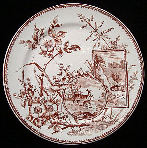 English Victorian Brown Plate ~ DEER 1880