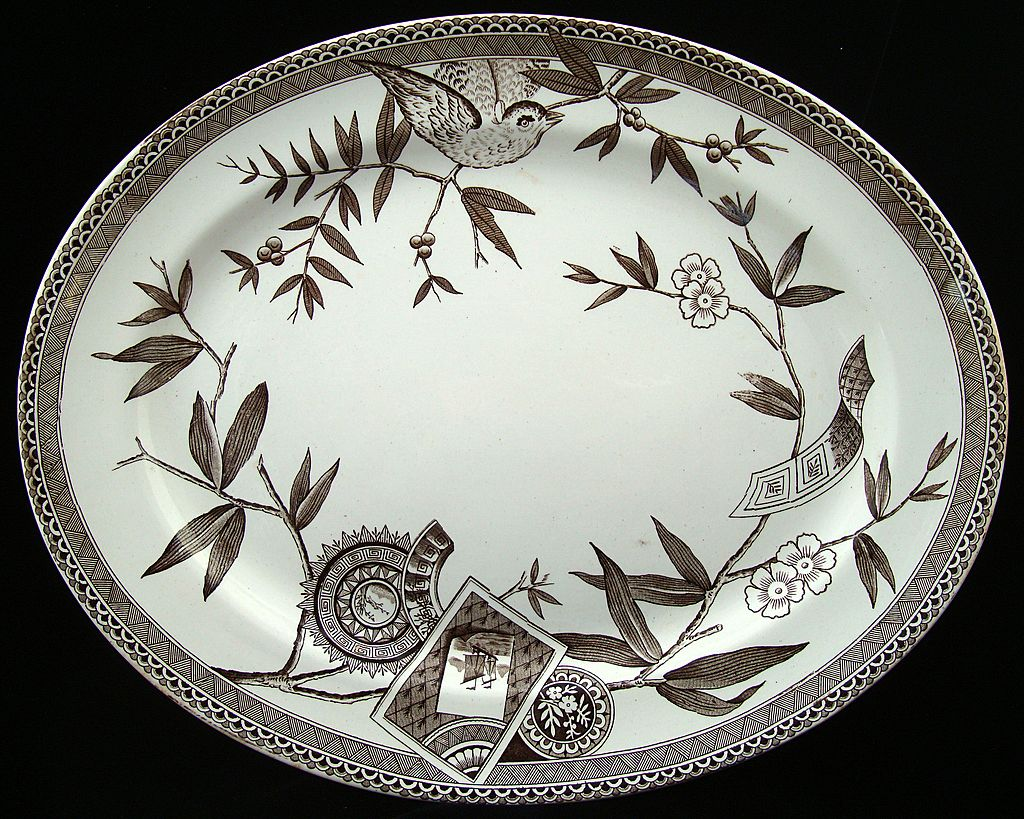 Wedgwood Brown Transferware Platter ~ LOUISE 1885