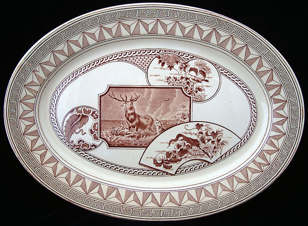 Excellent WARWICK Brown Transfer Platter 1880