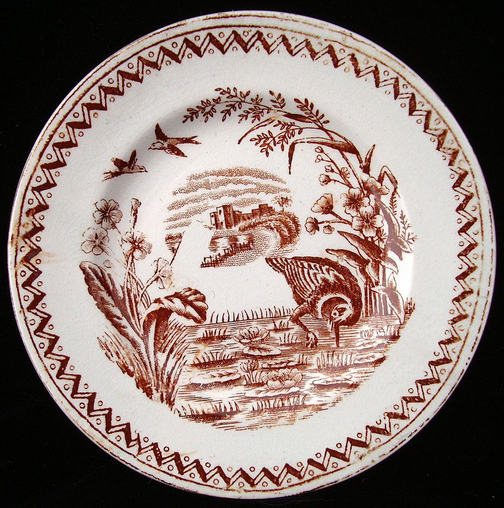 Brown Aesthetic Transferware Plate ~ WATER HEN 1890