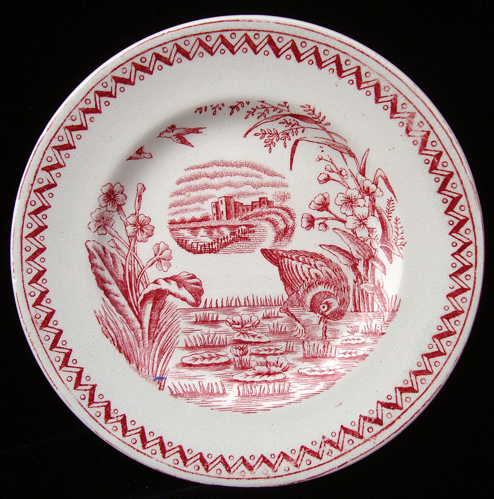 Red Aesthetic Transferware Plate ~ WATER HEN 1890