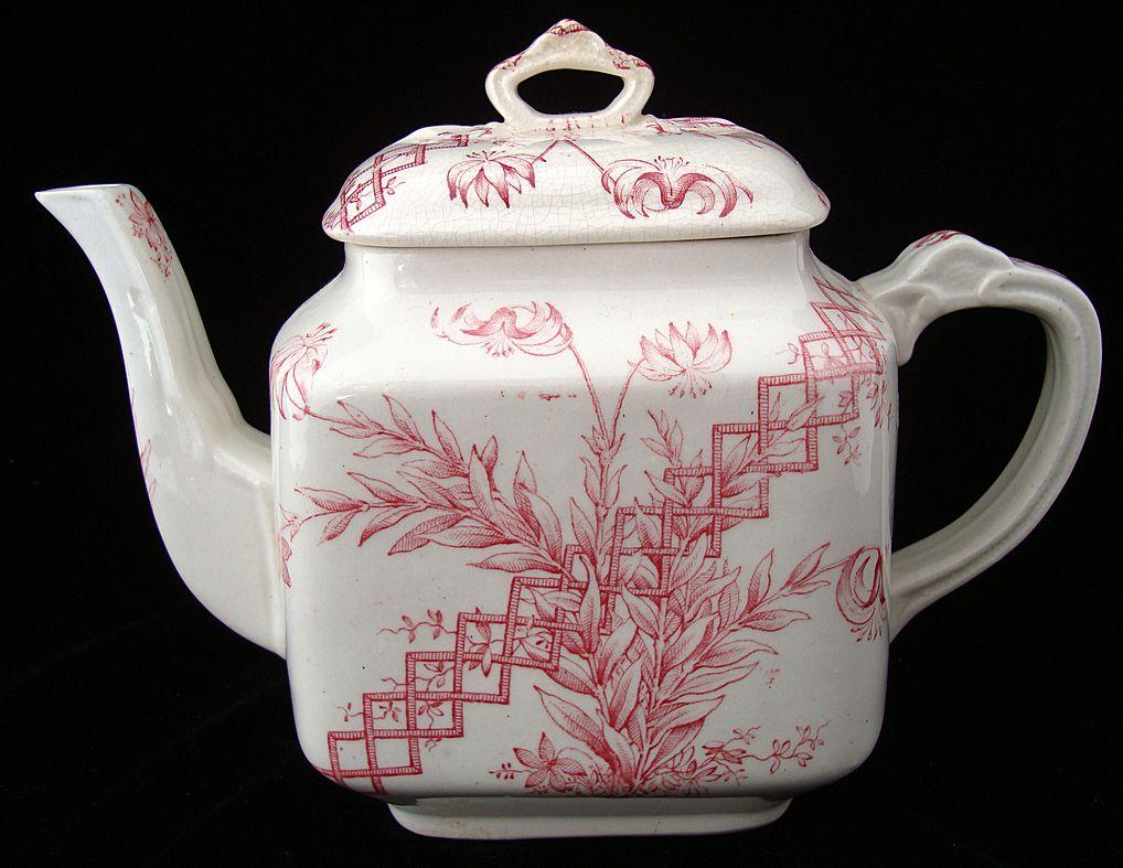 Red Transferware Tea Pot ~ BEATRICE 1885