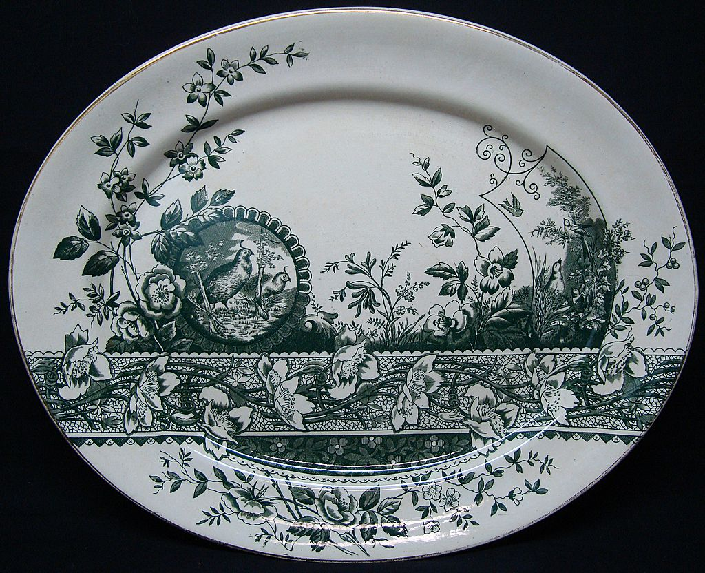 Green Transferware Aesthetic Platter ~ PARTRIDGE 1882