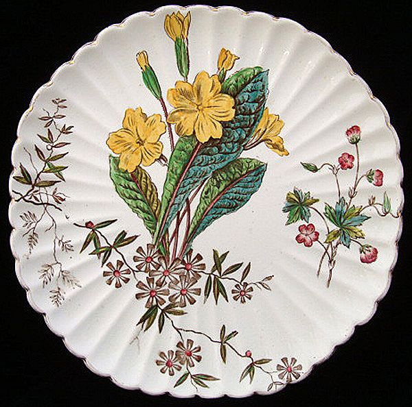 Polychrome Victorian Plate ~ WILD FLOWERS 1880