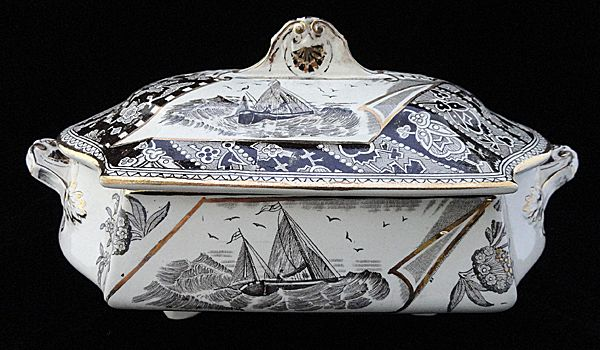 Brown Transferware Tureen ~ Canterbury 1883