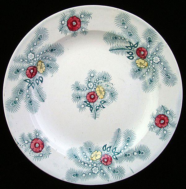Polychrome Transferware Plate ~ Peacock Feathers 1830