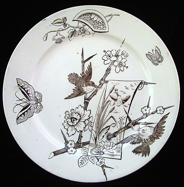 Victorian Japanesque Plate ~ Birds & Butterflies 1880