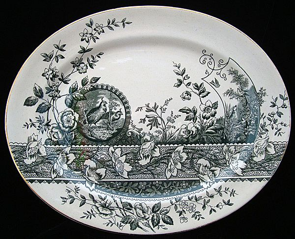 Green Transferware Platter ~ PARTRIDGE 1882