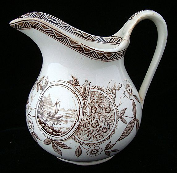 Victorian Brown Transferware Pitcher ~ PERAK 1885