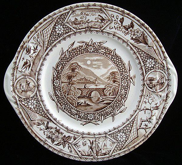 Victorian Transferware Biscuit Plate ~ PHILEAU 1883