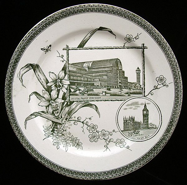 Victorian Plate ~ Crystal Palace + Clock Big Ben ~ 1884