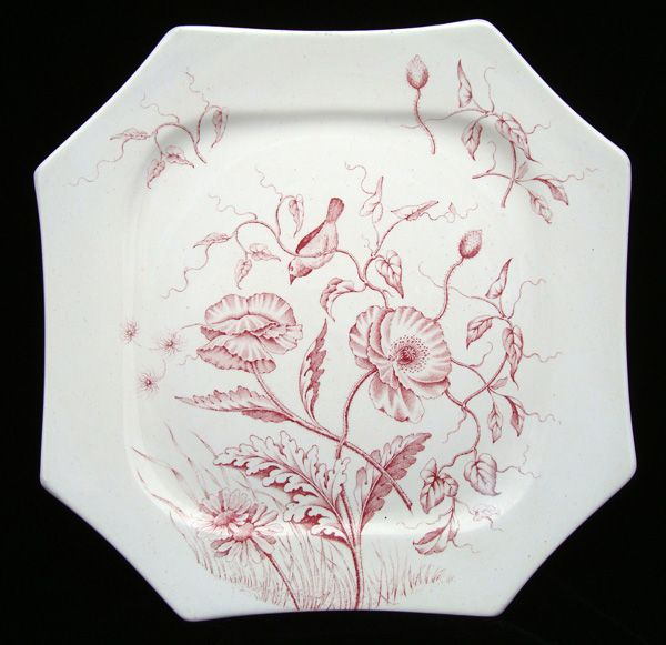 Victorian RED Transferware Plate ~ BLOOM ~ 1884