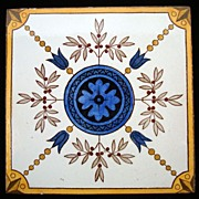 Victorian Polychrome Tile ~ Blue Flower 1885