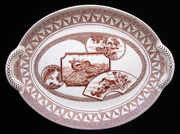 Antique English Transfer Platter ~ DEER 1880