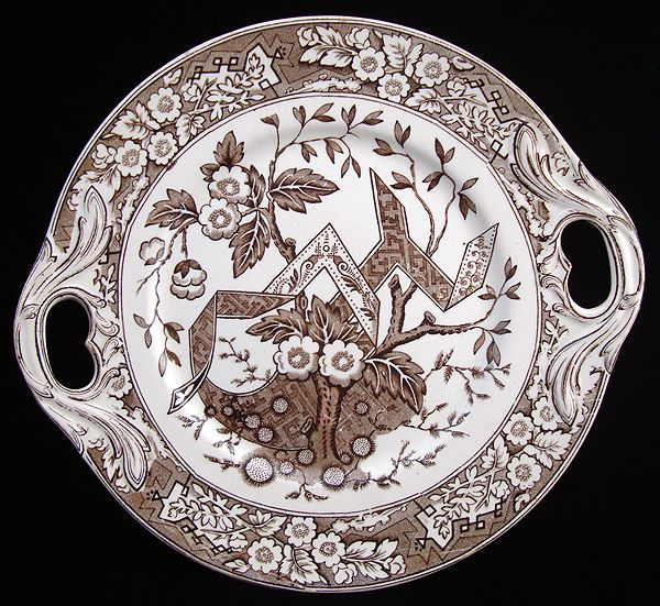 English Brown Transferware Tea Cake Plate 1880