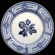 Blue English Victorian Plate ~ Italian Rose 1881