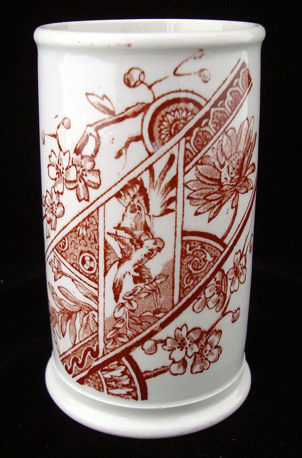 Victorian Brown Transferware Holder ~ PARROT 1875