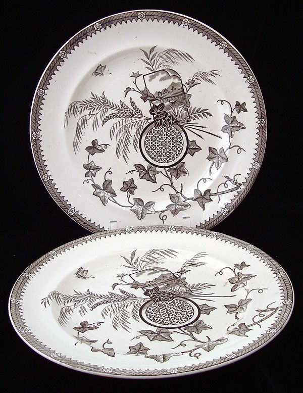 Superb Antique English Transferware Plates ~ YESSO 1884