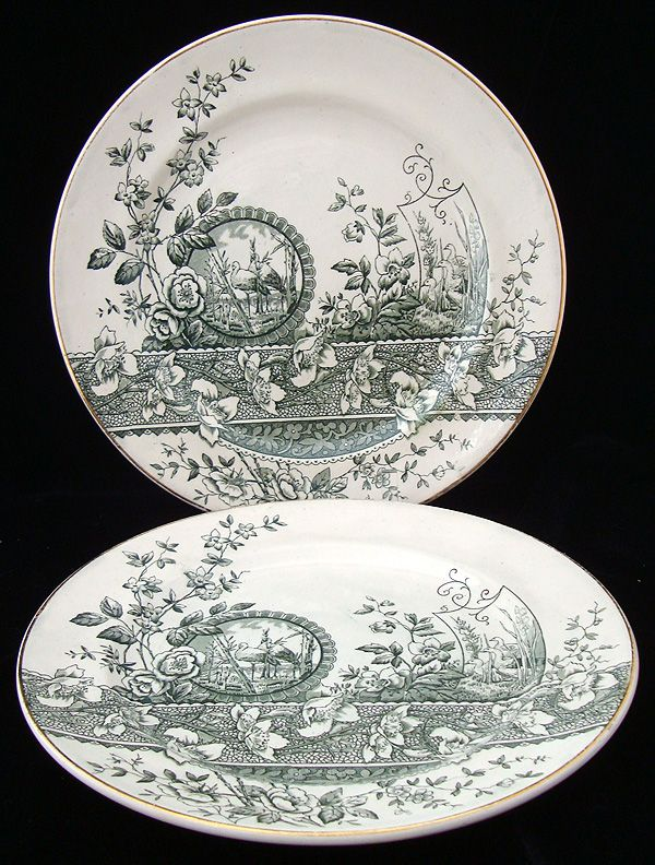 Green Transferware Aesthetic Plate ~ EGRETS 1882