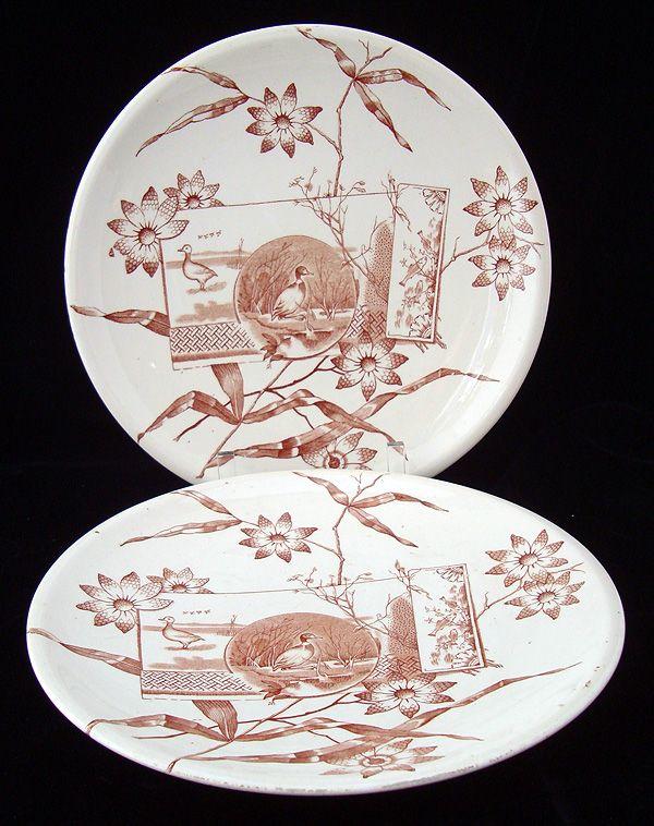 English Brown Transferware Plates ~ DUCKS & NATURE 1870