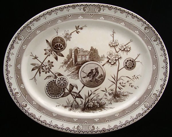 Spectacular Large Brown Transferware Platter ~  PAVIA 1881