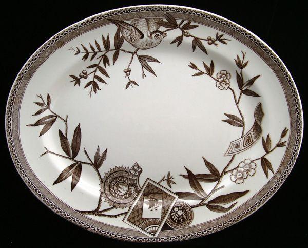 Antique English Brown Transferware Platter ~ LOUISE 1885