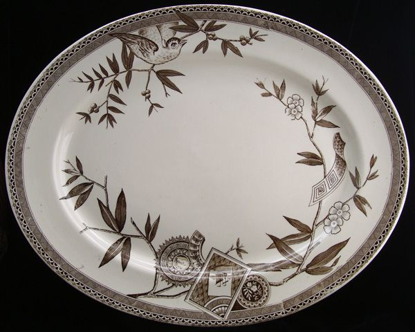 Best Aesthetic Brown Transferware Platter ~ LOUISE 1885