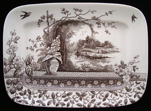 Brown Transferware Aesthetic Movement Platter ~ RUSTIC 1886