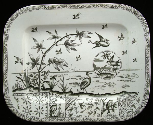 Antique Victorian English Transferware Platter ~ TONQUIN 1883