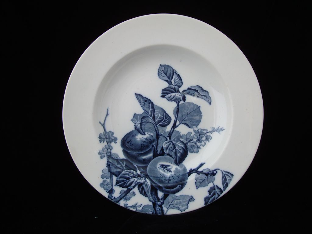 Blue Transfer Victorian Plate ~ PEACHES ~ FRUIT 1885
