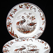 Pair of Transferware Polychrome Plates ~ INDUS 1885