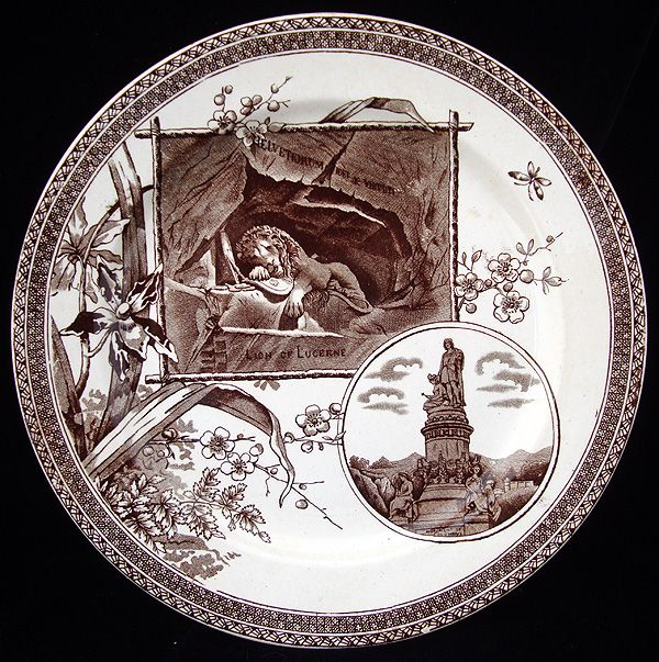 Brown Transferware Plate ~ LION of LUCERNE 1884