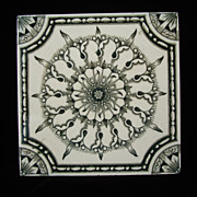 Brown Victorian Tile ~ Green Snowflake 1880