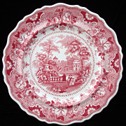 Red Staffordshire Plate ~ Parisian Chateau 1830