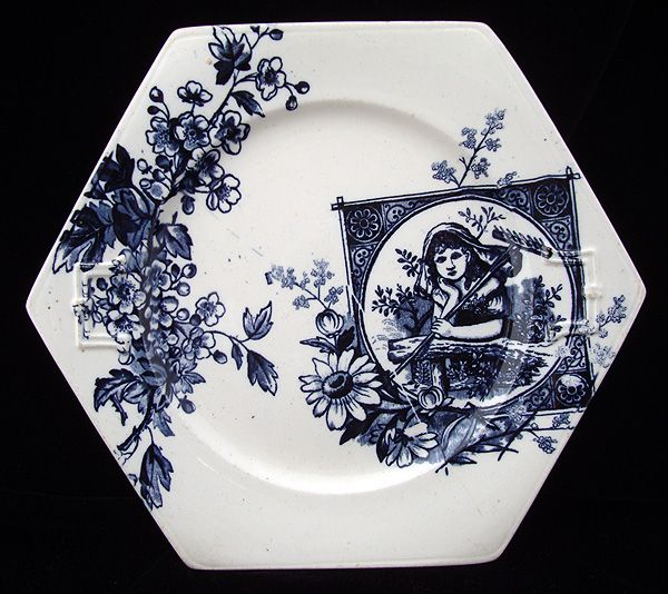 Dark Blue Transferware Plate ~ Garden Dreams 1885