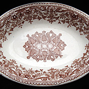 Brown TOURNAY Transferware Serving TRAY ~ 1890