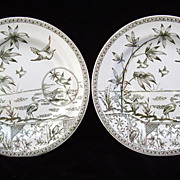 2 Green Transferware English Plate ~ TONQUIN 1883