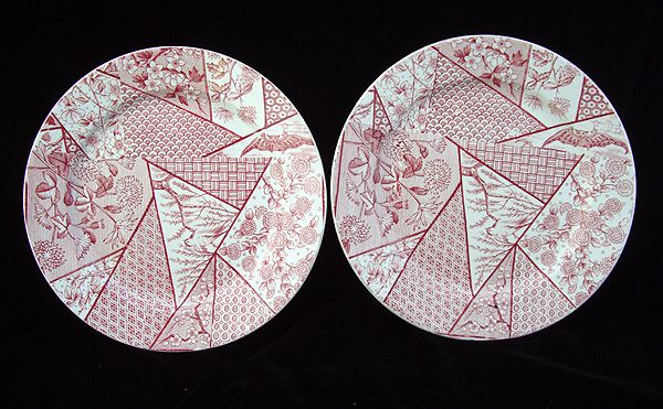 2 Staffordshire Red Transferware Plate ~ BATS 1885