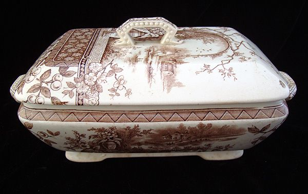 English Victorian Brown Transferware Tureen ~ RUSTIC 1886