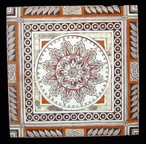 Victorian Brown Transferware Tiles ~ Aztec Sunflower 1885