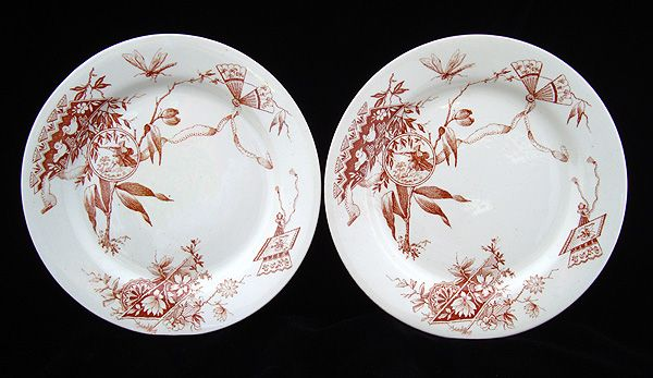 2 English Transfer Plates ~ DRAGONFLY 1880