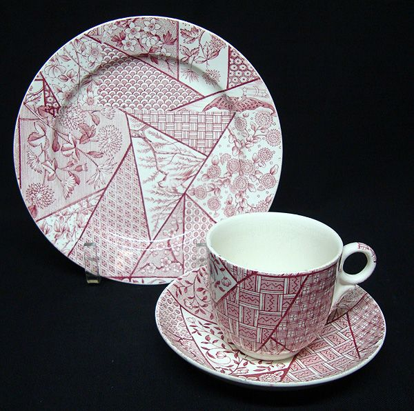 Staffordshire Aesthetic Red Transferware BAT & BIRD Set ~ 1885
