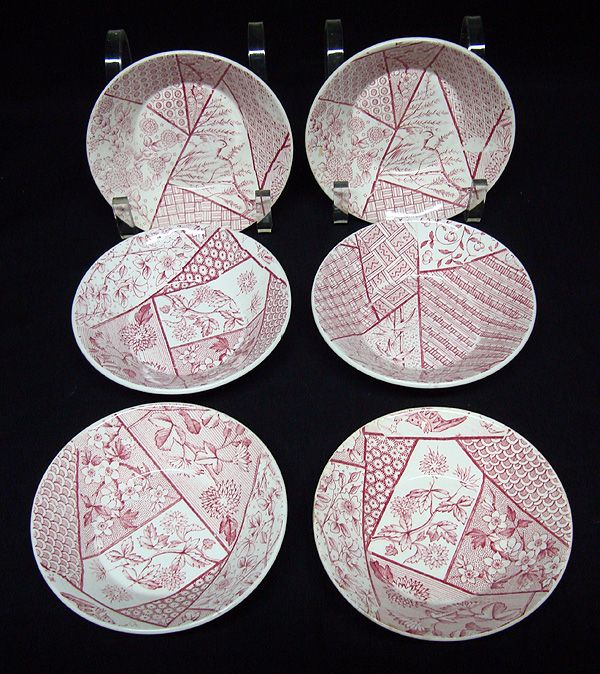 Aesthetic Red Transferware Plate ~ Fruit Bowls 1885