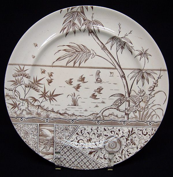Victorian Brown Transfer Plate ~ Great Heron 1883