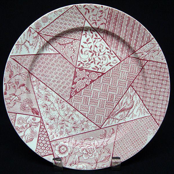 STAFFORDSHIRE Aesthetic Red Transferware Plate ~ Floris Ligna 1885