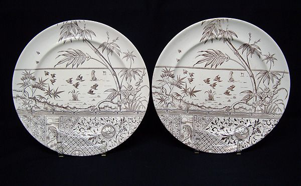 2 Aesthetic Movement Plates ~ HAWK with Setting Sun 1881