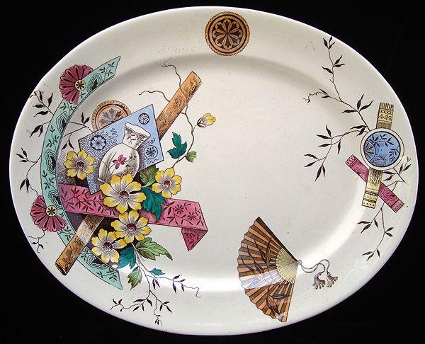 Aesthetic Movement Staffordshire Platter ~ SAIGON 1883